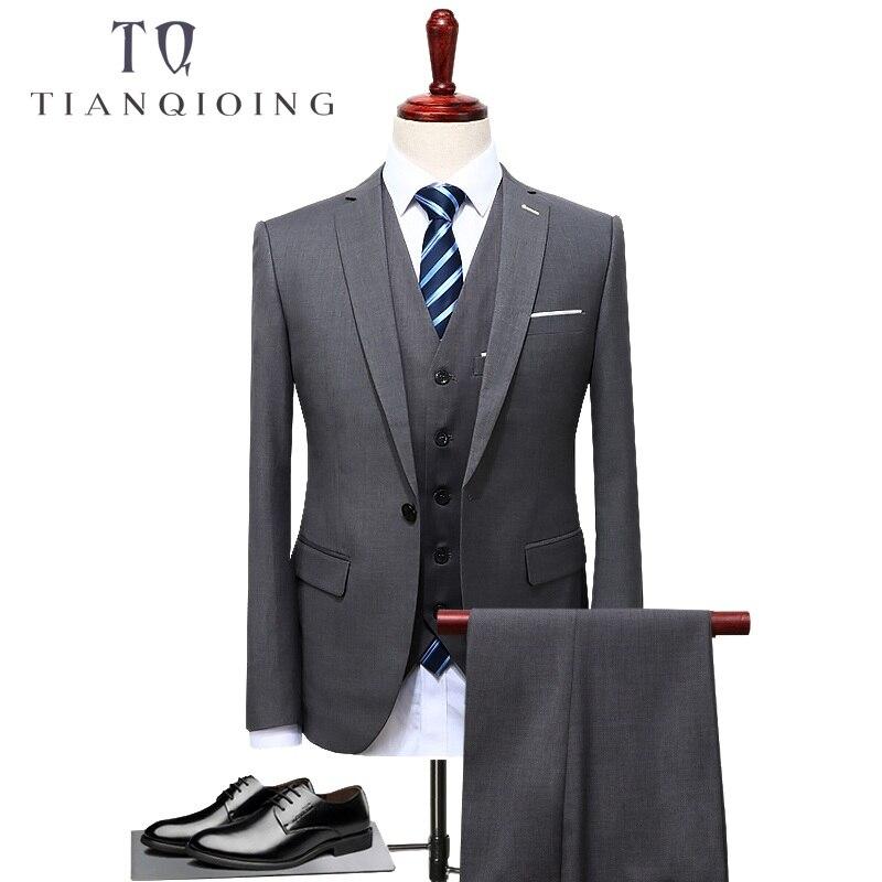 Tian qiong 2017 유명 브랜드 남성 정장 웨딩 신랑 플러스 사이즈 4xl 3 개 (자켓 + 조끼 + 바지) 슬림 피트 캐주얼 턱시도 정장 남성-에서정장부터 남성 의류 의  그룹 1
