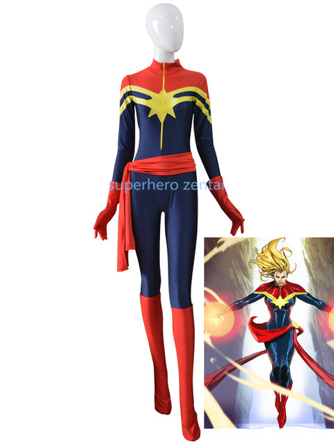 Free Shipping Ms. captain Marvel Carol Danvers Costume Anime Women Superhero Cosplay Zentai Bodysuit Hot Sale Adult/Kids/Custom