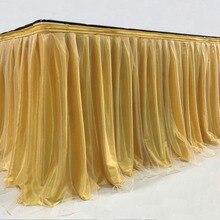 Тюлевая юбка для стола, вечерние, свадебные, для украшения дома, для дня рождения, вечеринки/для душа ребенка, шифоновая, марлевая, свадебная вуаль, юбка для стола, ing