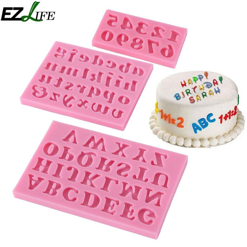 3pc/set Number 0-9 Letters Silica Gel Mould Cake Decorating Tool Diy Silicone Mold Clay Resin Sugar Candy Fimo Sculpey Fimo Gel Refreshment Kitchen,dining & Bar