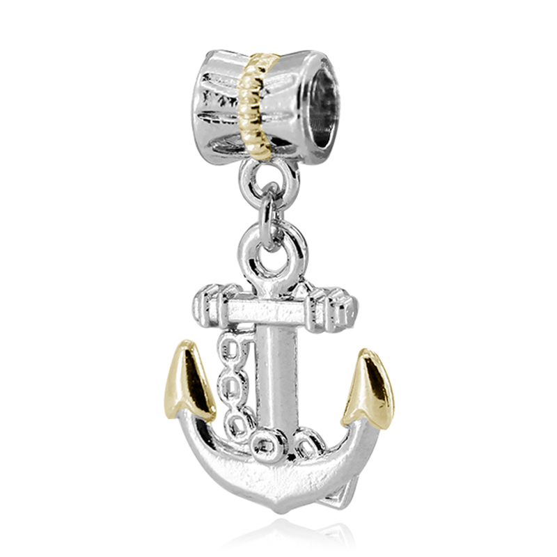 Fashion Gifts for Best Friend Gold and Silver Sailing Anchor European Big Hole Charm Hanging Beads fit Pandora Bracelets