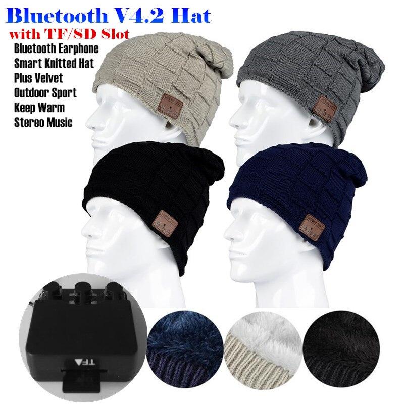 200pcs! Insert TF/SD Slot Wireless Bluetooth V4.2 Beanie Plus Velvet Hat Headset Speaker Mic Hand-free Music Mp3 Magic Smart Cap
