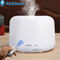 AKDSteel Ultrasonic Noiseless Remote Control Night Light Humidifier Aroma Diffuser 300ML Colourful LED Night Lamp Er0