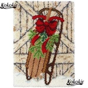 Juegos de aguja de lengüeta alfombra vloerklee diy tapijt kits de punto de cruz bordado costura Navidad diseño decorativo mat cojín ganchillo