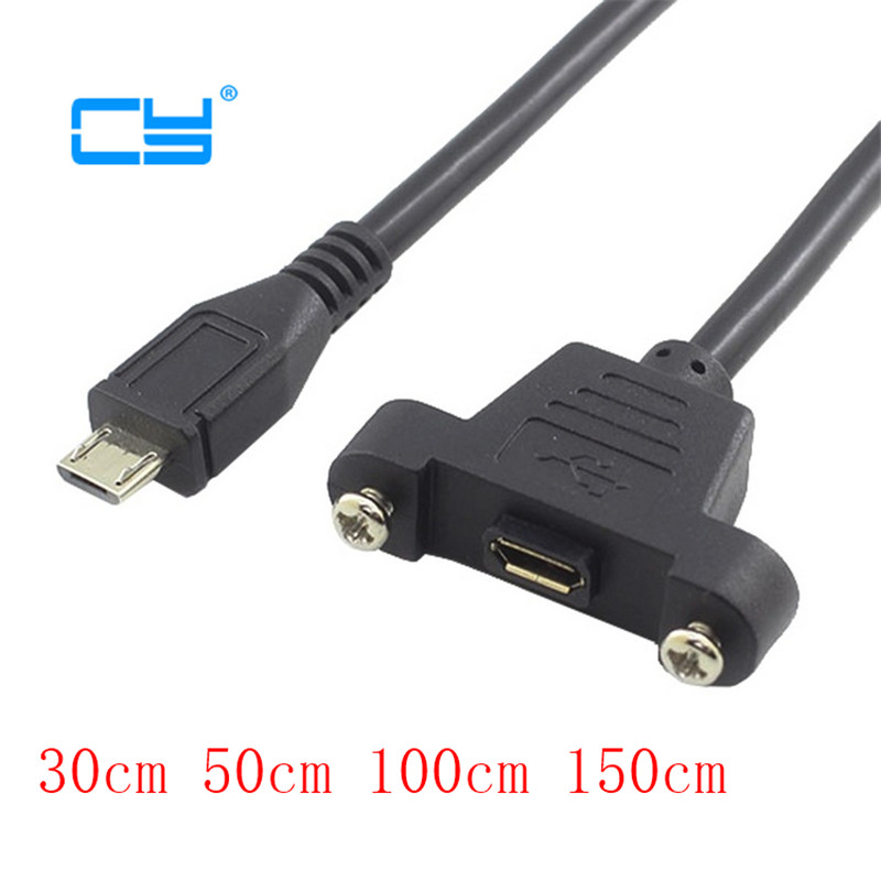 Micro Male Right Angle to USB 2.0 B Female Socket Printer Panel Mount Cable 50cm