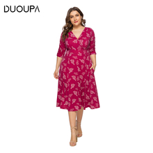 DUOUPA 2019 Spring and Summer Womens V-neck Cropped Sleeves Plant Print Sexy Big Swing Dress Loose Beach