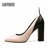 Jady Rose 2018 New Design Women Pumps Genuine Leather 9CM Chunky High Heels Prom Wedding Shoes