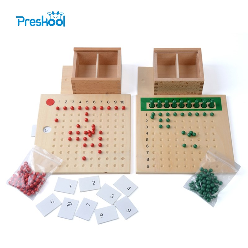 Baby Toy Montessori Multiplikasjon Bead Board og Divisjon Bead Board for Early Childhood Education Førskole trening leker