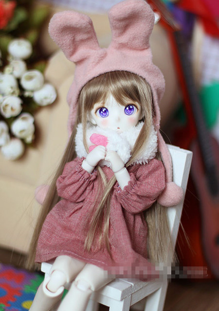 Cute  Pink Rabbit  Outfit Suit (4pcs) For BJD Doll 1/6 MSD YOSD LUTS DOD AS Doll Clothes CW76