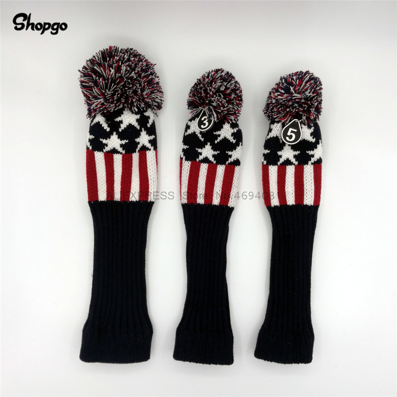Pompom Golf Headcovers Stars Knit Golf Driver Fairway Woods Covers #1 #3 #5 Golf Clubs Accessories For Man Women