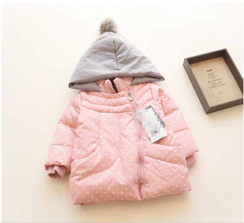 ФОТО YPB638100 Retail 2016 New Winter Baby Girl Jacket Hooded With Bow Print Girl Coat Girl Outerwear Worm Kids Clothes Lolita