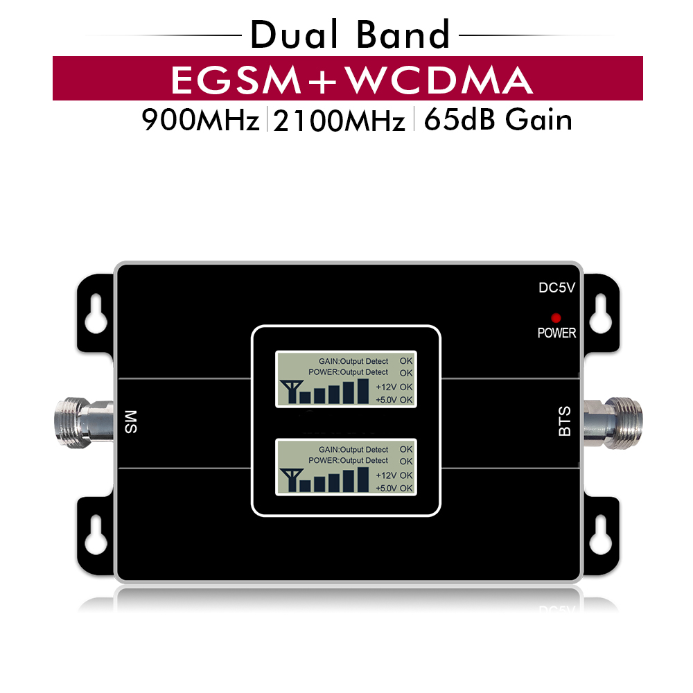 65dB Gain 17dBm AGC Dual Band Repeater Band 8 EGSM 900 LTE Band 1 3G UMTS WCDMA 2100 mhz cellular Mobile Signal Booster Verstärker
