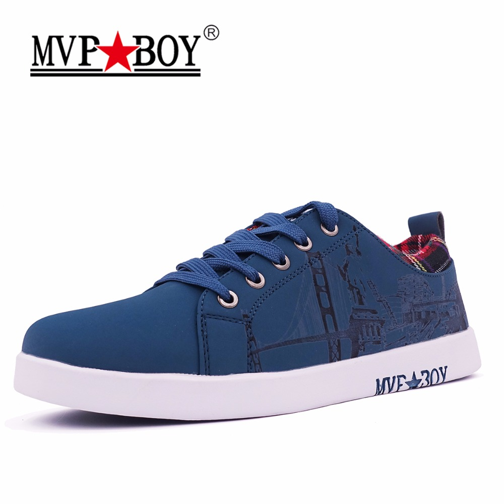 MVP BOY Brand Men Shoes Graffiti Series The Goddess of Freedom Style Men Casual Shoes High Quality Super Cool Leather Shoes Men graffiti classic boy 20 blue