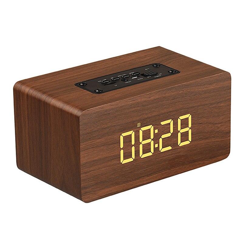 W5 Digital Alarm Clock Bluetooth Speaker Wireless Handfree Wooden Speaker With Microphone 1500Mah Classic Home Speaker