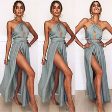 2018 Summer Women Sexy Maxi Dress Halter Backless Fashion Casual Boho Wedding Women Long Dress Ladies Club Party Dress MLD756