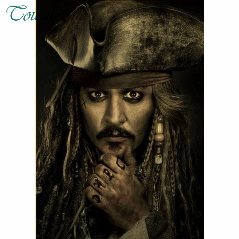 cb2f26e877ca1 5D Full Diy Diamond Painting cross stitch Pirates of the Caribbean Captain  Jack Sparrow actor Johnny
