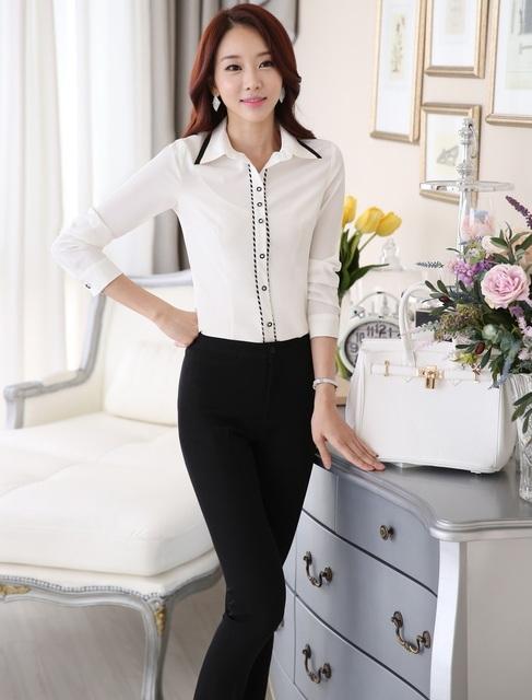 Estilos uniformes Business Professional Women trabalho Formal ternos Tops e calças calças definir vestuário feminino Outfits novidade branco
