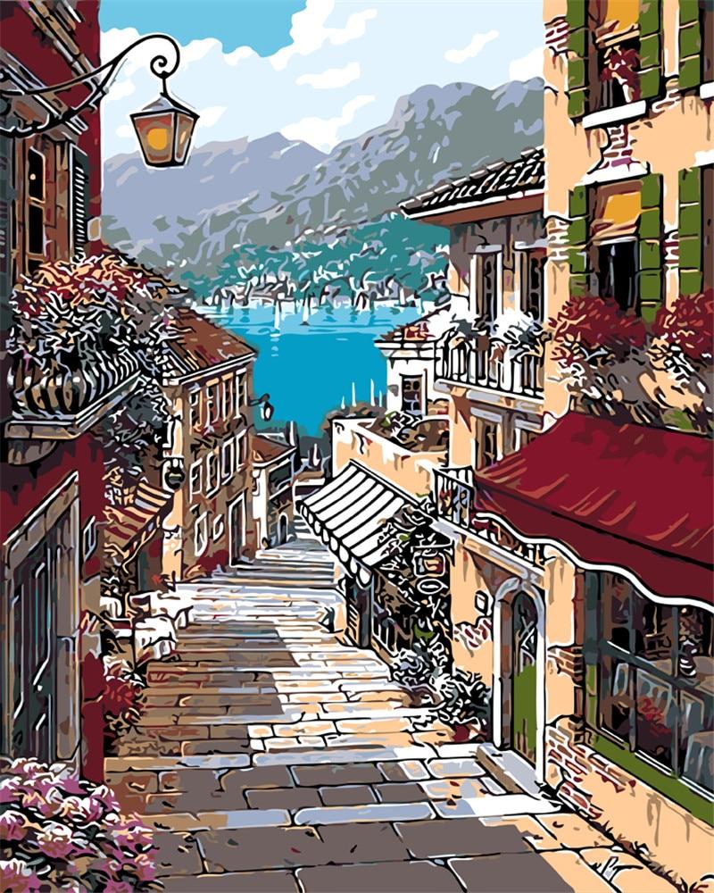 Marocco paesaggio soggiorno office decor modulare vernice handpaint immagini Della Pittura A olio Da Numbers Disegno per numero di manifesto FAI DA TE