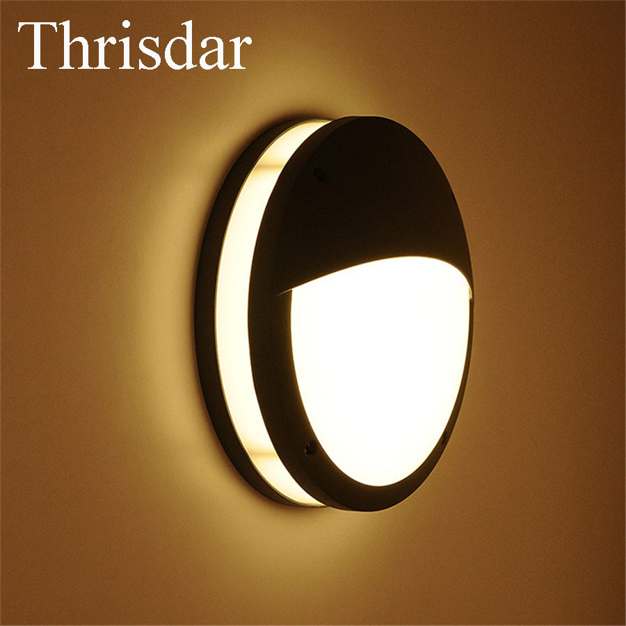 Thrisdar 12W IP65 Waterproof LED Wall Lamps SMD5730 Outdoor Nordic Balcony Stairs Garden Porch Light Engineering Villa Wall Lamp solar powered 0 64w 10lm 200 led blue light garden christmas party string fairy light blue 20 5m