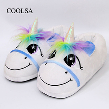 COOLSA New Brand Womens Cotton Slippers Rainbow Unicorn Adults Winter Flock Cartoon Plush Indoor Flat Shoes