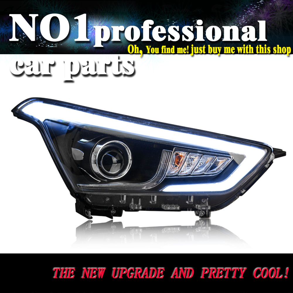 Car Styling For hyundai ix25 headlights 2015 head lamp led DRL front Bi-Xenon Lens Double Beam HID KIT car styling for vw passat b7 theadlights 2012 2015 head lamp led drl front bi xenon lens double beam hid kit