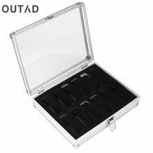 OUTAD Jewelry Watches Boxes Casket 12 Grid Slots Silver Display Square Case Aluminium Suede Inside Container Holder Organizer(China)