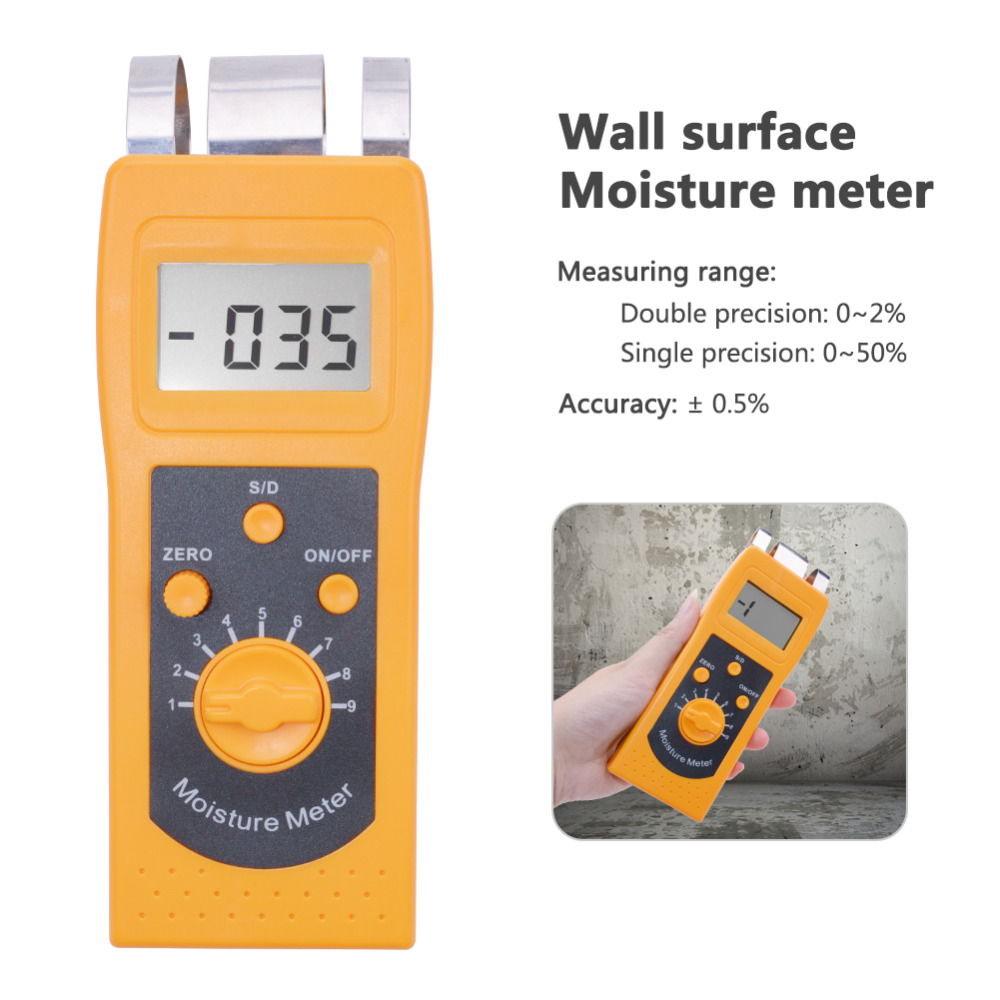 Yieryi High Performance DM200C Wall Surface Moisture Meter Digital Moisture Analyzer for Floor Concrete Gypsum Board