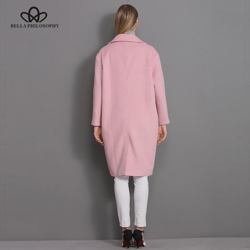 Bella Felsefesi 2018 Yeni yün uzun kalın ceket ceket Kadınlar - Bayan Giyimi - Fotoğraf 3