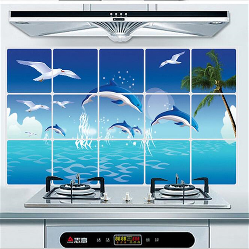 Prevent lampblack <font><b>kitchen</b></font> wall stickers Dolphins picture <font><b>kitchen</b></font> ceramic tile wall aluminum mediterranean style oil stickers