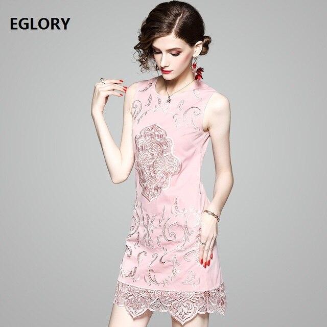 Hollow Out Dress Short Party Woman Crochet Lace Embroidery Lady Sleeveless Pockets Mini Dress Sweet Lolita Girls Pink Dress