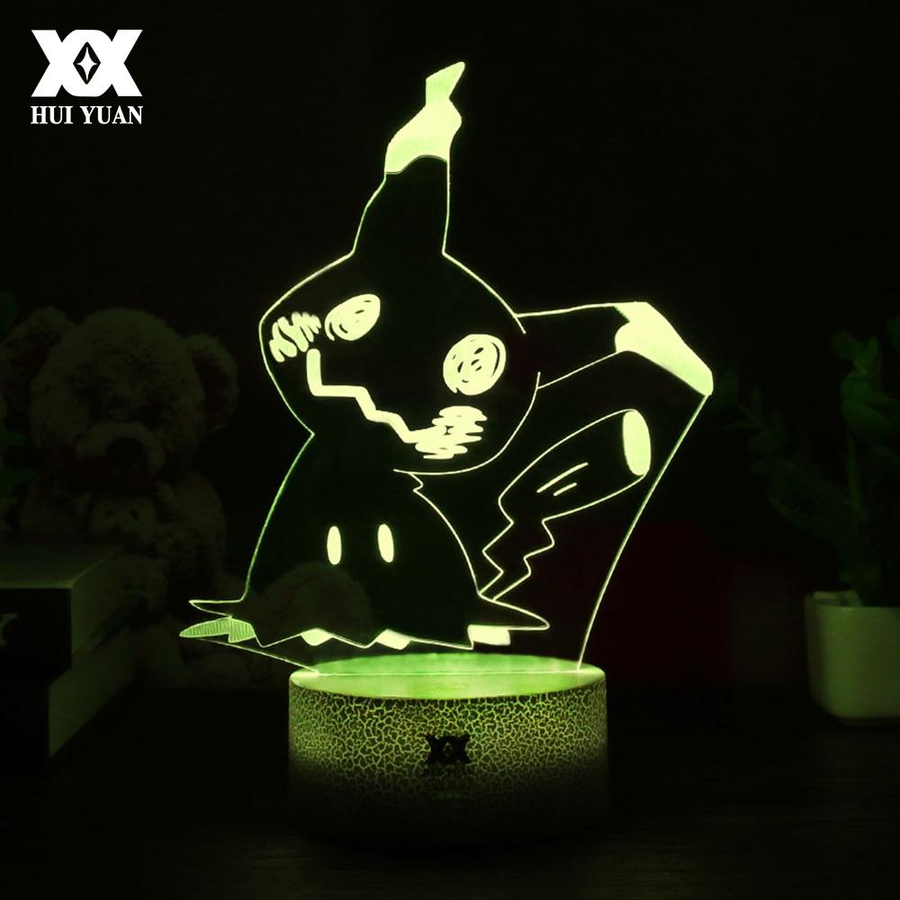 HUI YUAN New Pokemon Mimikyu Cute Cartoon 3D Lamp LED Cool 7Color Night Light USB Sleep Table Lamp Surprise Gift For Children