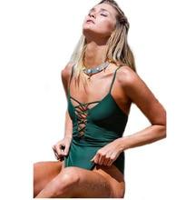 ФОТО   girls/women swimwear pinup solid deep v string swimsuits one piece badpakken vrouwen traje de bano mujer 3 colors may