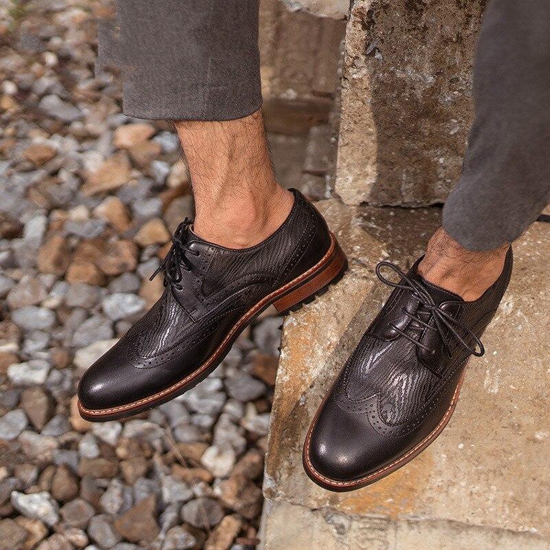 QWEDF hommes chaussures en cuir véritable haute qualité bande élastique mode design solide ténacité confortable chaussures pour hommes grandes tailles YC-100