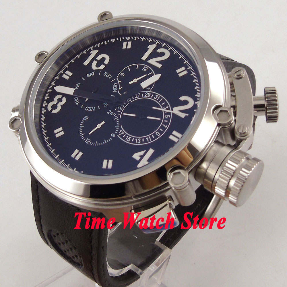цена на Parnis 50mm black dial date week display multifunction black leather strap Automatic movement men's watch P2