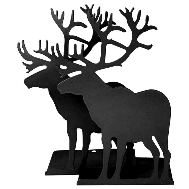 Non Skid Elk Bookends Art 40 Pair Black Deer Animal Metal Vintage Amazing Decorative Bookends For Sale