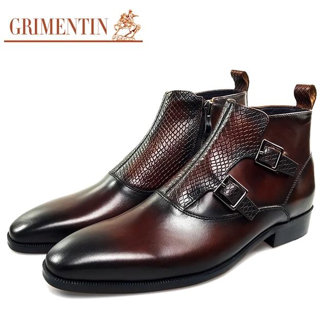 Grimentin мужские ботильоны натуральная кожа роскошные Пряжка обувь в деловом стиле с застежкой-молнией