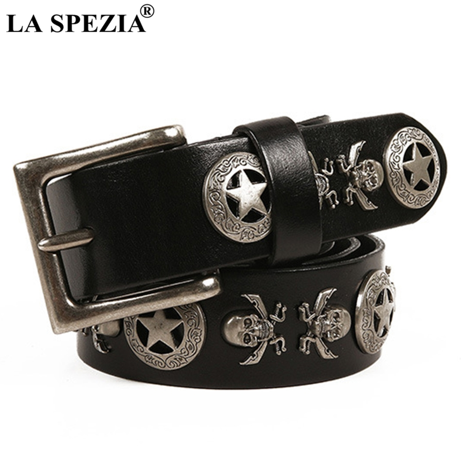 LA SPEZIA Square Belt Male Genuine Cowhide Leather Pin Buckle Belts For Men Skull Black Real Leather Rock Punk Accessories Belt