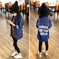 Hot Sale Children Fashion Outerwear Jeans Jacket Girls Casual Coat Baby Girls Letters Printed Jeans Coat Kids Clothes WJ0608