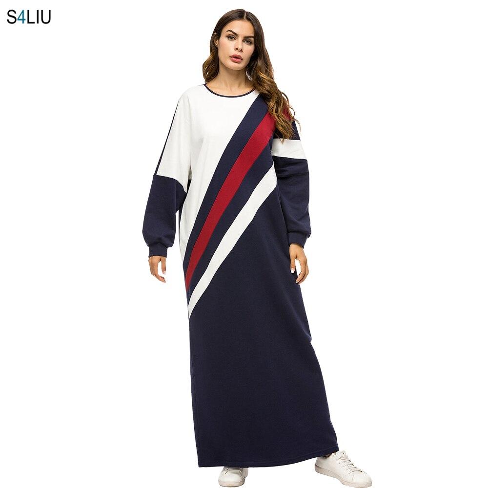 daabc29279985b8 Женское повседневное Полосатое платье в пол, плотные толстовки, свободное  мусульманское длинное платье, турецкое