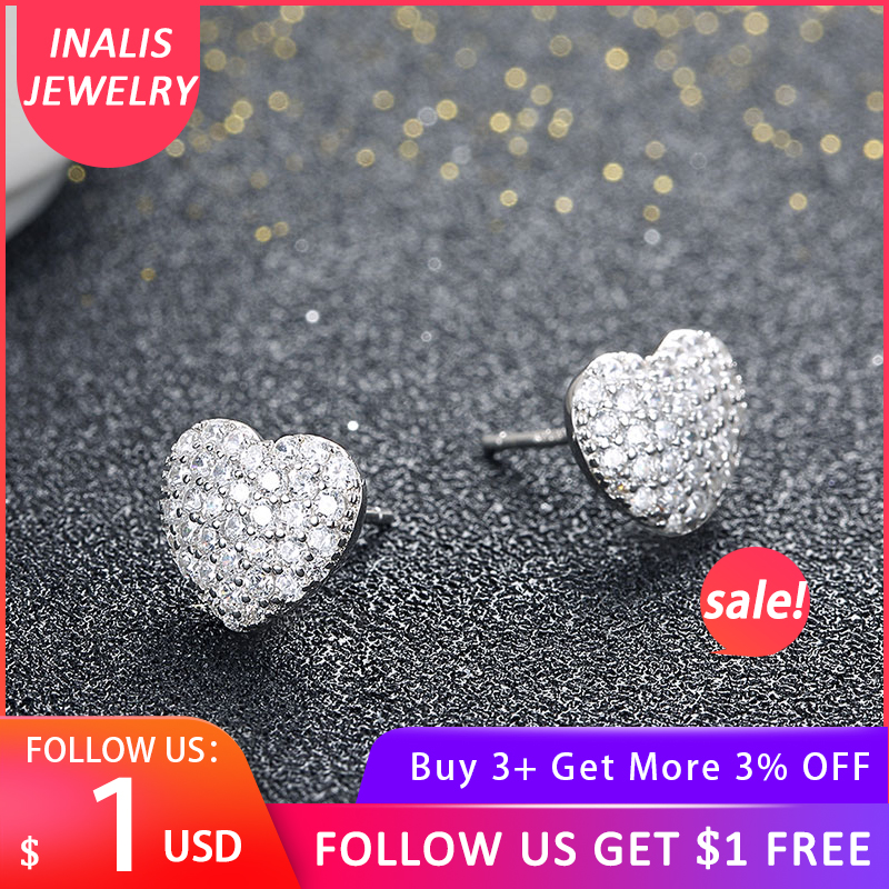INALIS Zircon Earrings Gift 925-Sterling-Silver Heart Forever-Love Luxury Woman Female