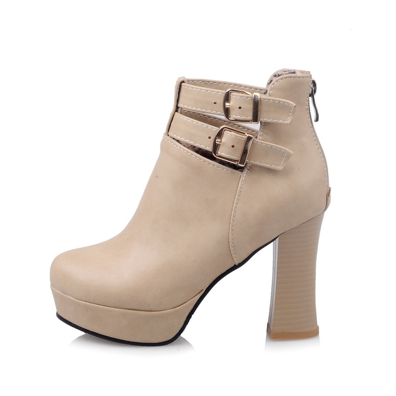 Brand New Hot Sale Sexy Women Platform Ankle Boots Black Beige Winter Lady Nude Shoes High Square Heel EAC07 Plus Big size 45 10 brand new hot sales women nude ankle boots red black buckle ladies riding spike shoes high heels emb08 plus big size 32 45 11