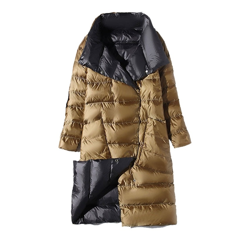 2019 Autumn Winter Plus Size Women Light White Duck   Down   Jacket Female Long Double-sided Two Sides Through   Down     Coat   NS1294