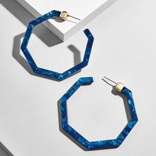 Vintage Geometric Large Polygonal Resin Hoop Earrings For Women Leopard Biue Acrylic Statement Bohemia Brincos