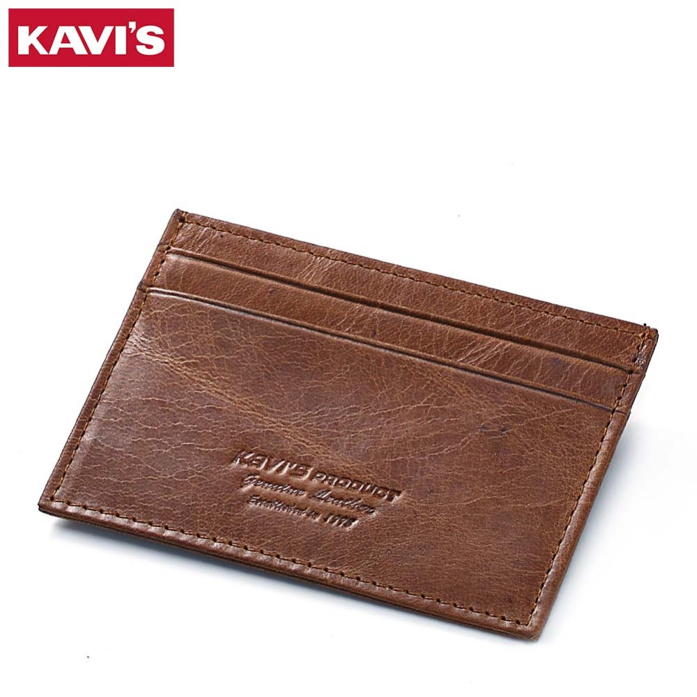 KAVIS Cow Leather Credit Card Wallet Multifunction Credit ID Cards Holder Small Wallet M ...