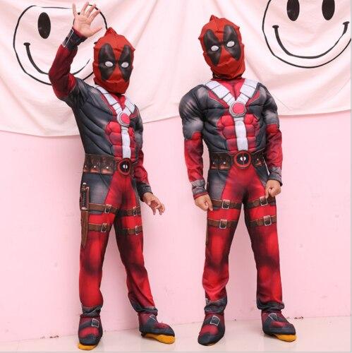 Kids Marvel Deadpool Costume Jumpsuit Mask Cosplay Costume Karneval