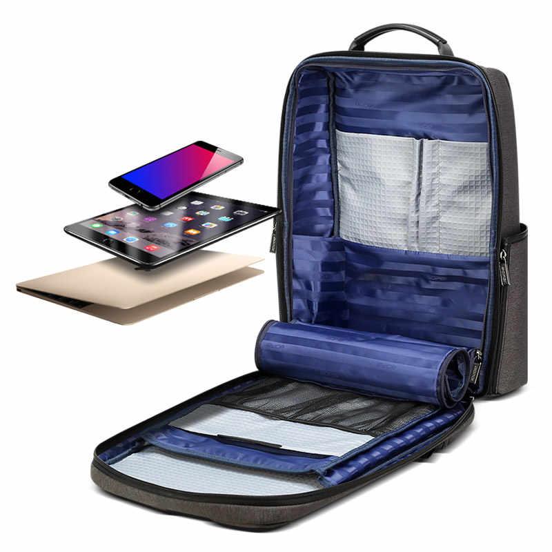 BOPAI 2019 stylowy plecak męski plecak biznesowy plecak nylonowy wodoodporny plecak na laptopa 15.6 z oddzielnymi przegródkami