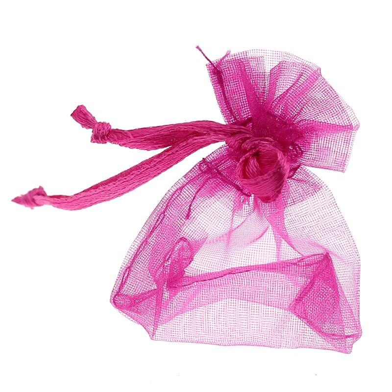 DoreenBeads Organza Organza Jewelry Bags Drawable Rectangle Fuchsia 7cm X5cm(2 6/8