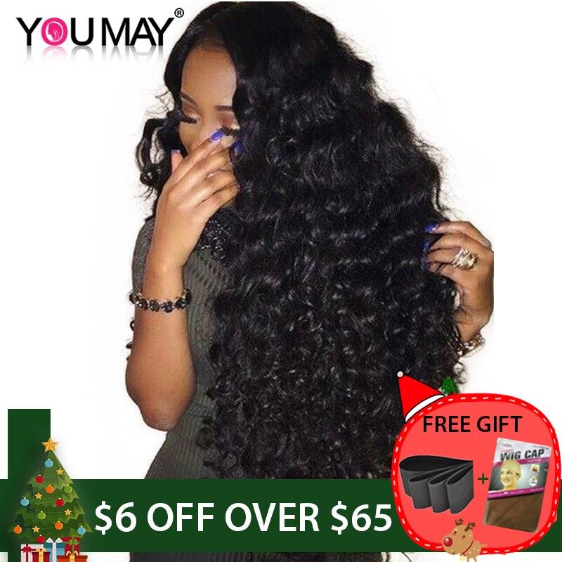 150% Densité Avant de Lacet Perruques de Cheveux Humains Pour Les Femmes Naturel Noir Profond Partie 13x6 Avant de Lacet Perruque Pré pincées Ondulés Perruques Remy Vous Pouvez