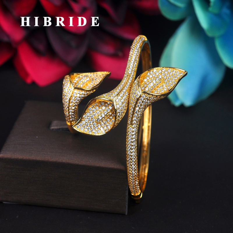 HIBRIDE Luxury Flower Design Micro CZ Pave Cuff Bangles&Bracelets Baguette Gold-Color Women Bangle Gifts Bijoux Jewelry B-123 gold open cuff bracelets for women bijoux jewelry