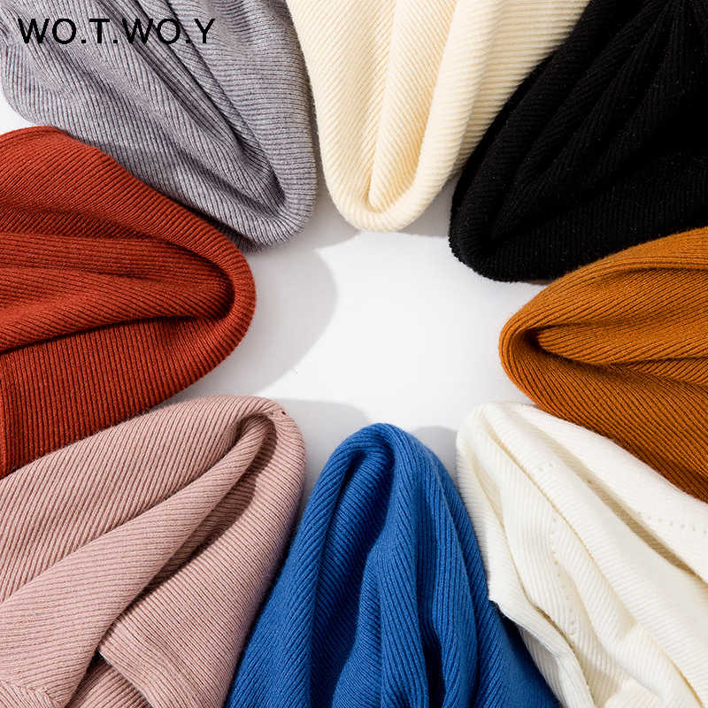 WOTWOY Basic Slim Thin Knitted Ruffles Sweaters Women Pink Autumn Winter Long Sleeve Casual Pullovers Female Hollow Out Jumper